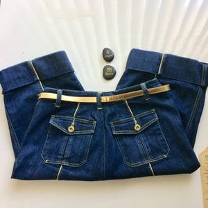 Capri Jeans With Gold Trim and Gold Belt